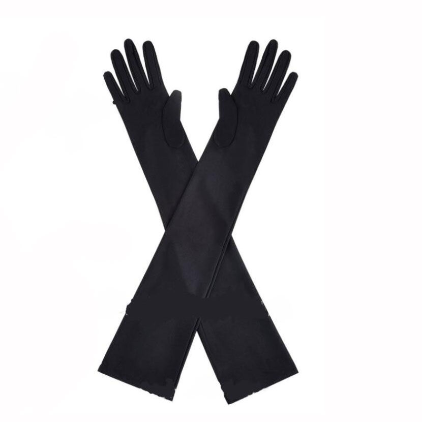 Women's 50cm Classic Adult Size Long Opera Length Satin Gloves Black