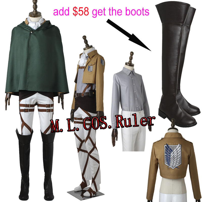 Shingeki no Kyojin ttack on Titan Levi Rivaille Rival Ackerman Cosplay Costume Jaket Coat Shirt All Size Halloween