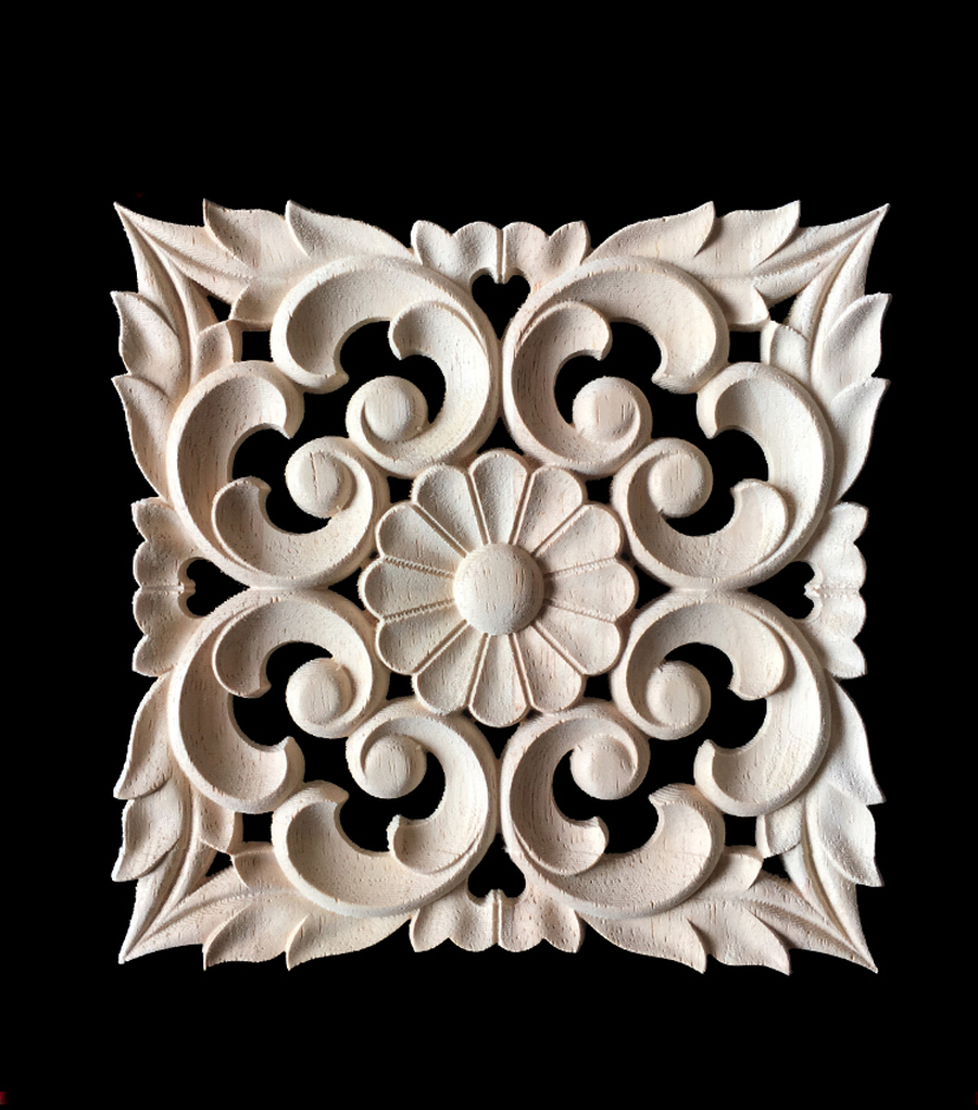 Wood Carved Long Applique Frame Corner Onlay Unpainted Furniture Vintage Home Decoration Accessories Decor Door Deco in Figurines Miniatures from Home Garden