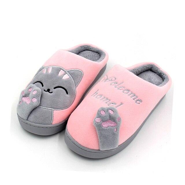 נשים של חורף הקריקטורה נעלי בית חתול בית להחליק רך החורף חם נעלי בית מקורה חדר שינה זוג אוהבי רצפת נעלי גדול גודל