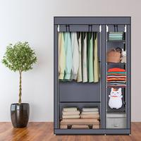 67 Portable Clothes Closet Non Woven Fabric Wardrobe Foldable Assembly 5 Layer 6 Grid Double Rod Storage Organizer Gray