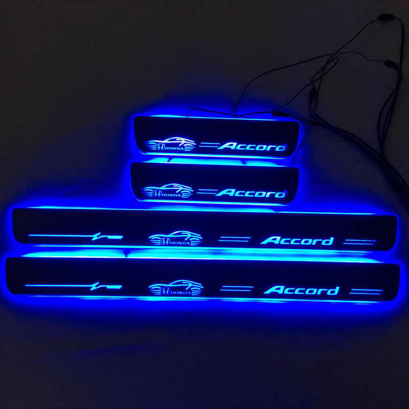 Para accord porta dinâmica lâmpada led peitoril scuff placa pedal bem vindo estilo do carro twinkle soleiras de iluminação para honda accord