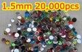 1.5mm 20,000 pcs Cores Misturadas Acrílico flatback strass para cores normais mistos nail art strass