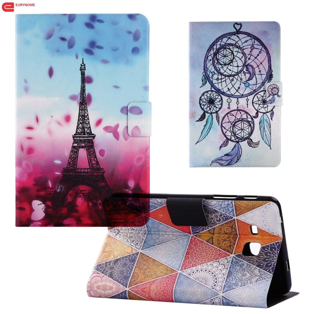 Fashion Colorful Eiffel Tower flower Card slot pu leather stand case cover for Samsung Galaxy Tab E 9.6 T560 T561 SM-T560 case