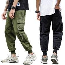 Japanese Style Fashion Joggers Pants Men Vintage Designer Loose Fit Multi Pockets Cargo Slack Bottom Hip Hop Harem