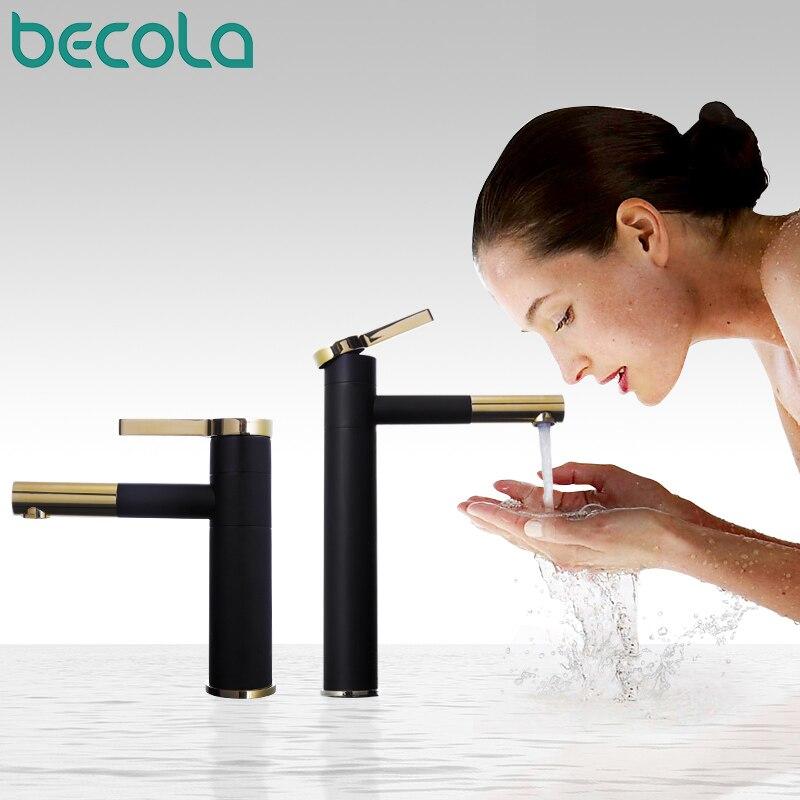 BECOLA nouveau design laiton 360 robinet rotatif noir + plaqué or poignée salle de bain robinet mode lavabo lavabo mitigeur F-0069