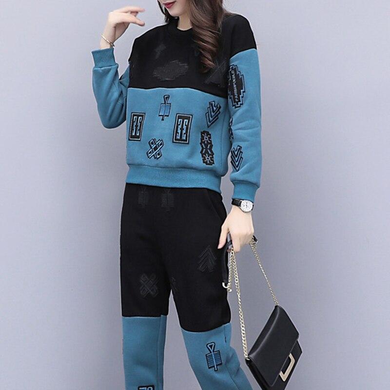 Yiciya D'hiver De Sport Plus 5xl Grand Ensemble 2 4xl Fitness La Taille Set Survêtements Femmes Co ord Costumes Pièces Pantalon Tenues Blue Vêtements wqFwfnr1S