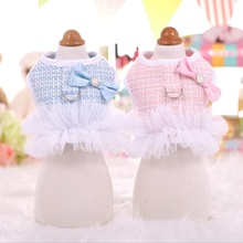 Tweed Princess Pet Cat Harness Leash Set Autumn Dog Breathable Tutu Dress for Small Medium S M L