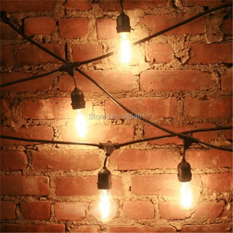 New 48ft148m outdoor vintage string light with 15 incandescent 48ft148m outdoor vintage string light with 15 incandescent 5w e27 clear bulbs black plug in cord globe light string set in lighting strings from lights aloadofball Images