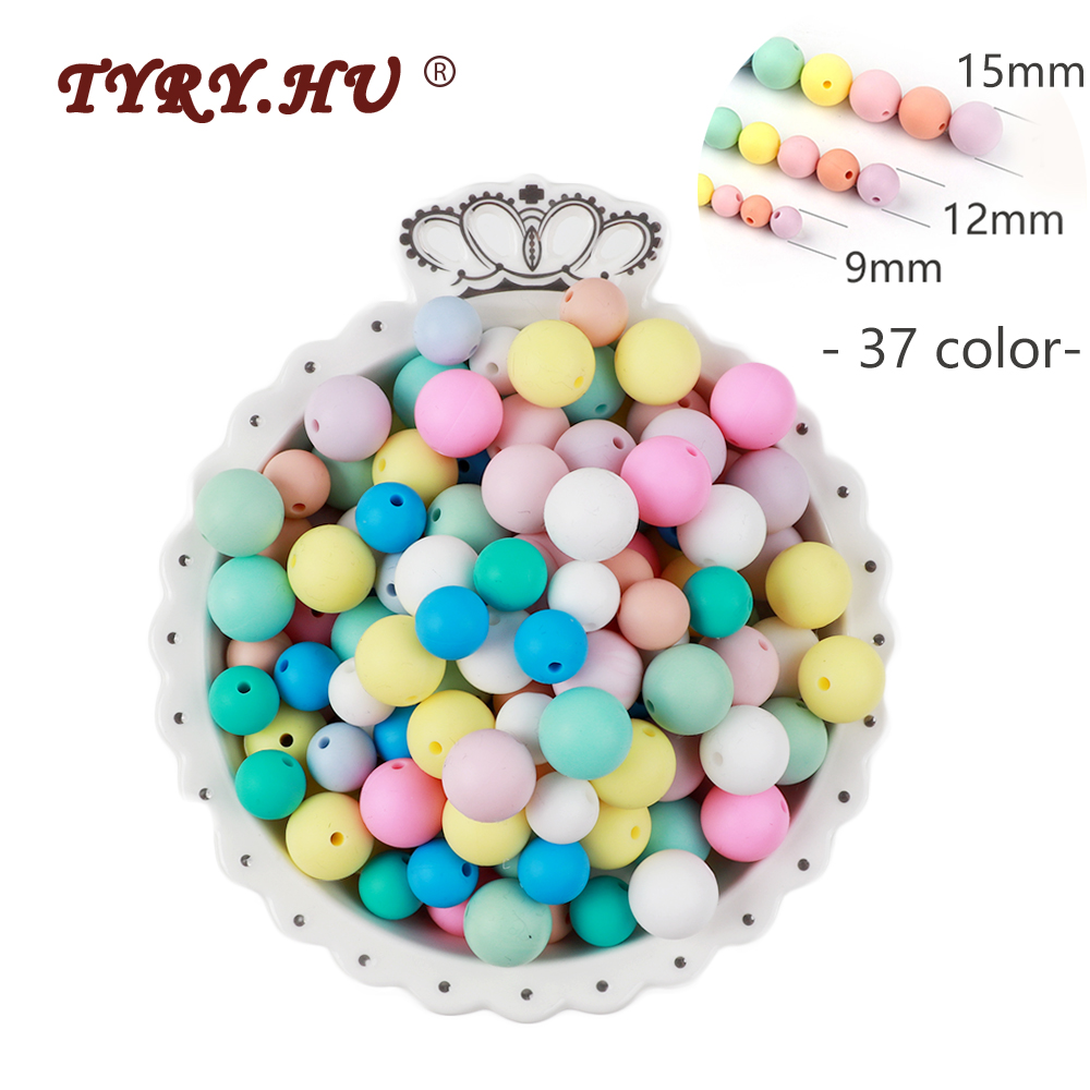 TYRY HU 500Pcs 12mm Pearl Silicone Beads 15mm 9mm Baby DIY Necklaces Pacifier Chain Teething Food