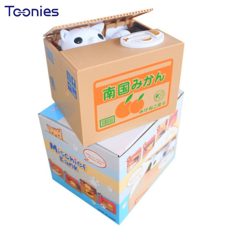 Entzückende Katze Stehlen Piggy Bank Katze Essen Kreative Spardose Safe Box Safes Geld Sparen Münze Bank Geschenke für Kinder Neue Super nette