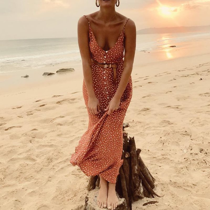 Beach Strap Polka Dot Long Dress Women Summer Sexy Sundress Backless Robe Vintage Ruffle Elegant Slim Holiday Chic Maxi Dresses in Dresses from Women 39 s Clothing