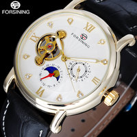 Luxury Top Brand 2016 NEW FORSINING Fashion Hour Display Roman Numerals Wristwatches Black Leather Strap Watch