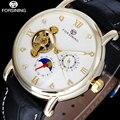 Top de luxo da marca 2017 novo forsining moda hour exibição algarismos romanos relógios de pulso pulseira de couro preto relógio para homens/a831