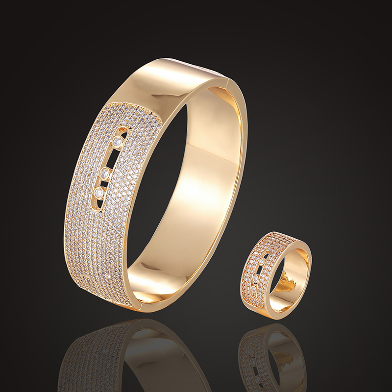 Theresa brand luxury jewelry set missika bangle with rings gift 3A zircon micro pave setting wedding