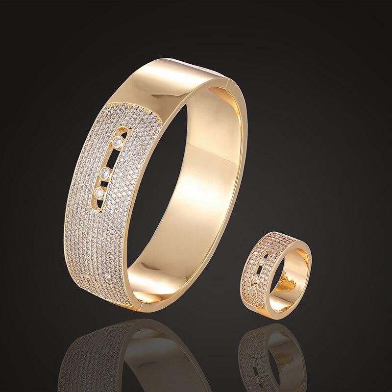 Juego de joyas de lujo de la marca Theresa, brazalete de missika con anillos de regalo 3A zirconia, pulsera de boda, joyería de moda-in Conjuntos de joyería from Joyería y accesorios    1