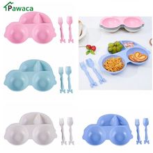 Фотография Cartoon Car Shape Dishes Bowl Plate With Spoon Fork Tray Snack Foods Dinner Plates Tableware Sets Food Container