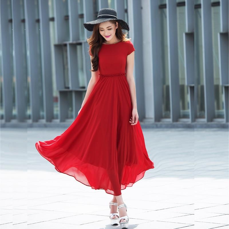 wholesale dealer e24fb 392fc US $38.49 49% di SCONTO|Viola abiti maxi long donna summer dress chiffon  rosso vestiti da partito nero abiti eleganti donne verde vestidos de verano  ...