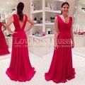 Rojos vestidos baile Sexy V_neck V volver vestidos noche para mujeres largo elegante Plus Size Robe De soirée barato A_line rojo Festa