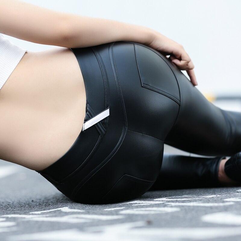 Sexy Plus Size PU Zipper Push Up High Rise Waist Pencil Pants Faux Leather Women Matte Leggings Capris Club Dance Wear F31