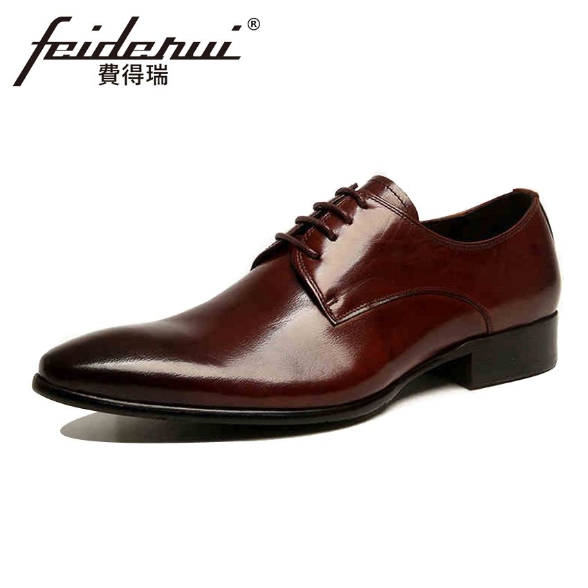 Classic Genuine Cow Leather Handmade Men's Wedding Party Footwear Pointed Toe Lace-up Derby Man Flats Formal Dress Shoes YMX128 elanrom summer men formal derby wedding dress shoes cow genuine leather lace up round toe latex height increasing 30mm massage