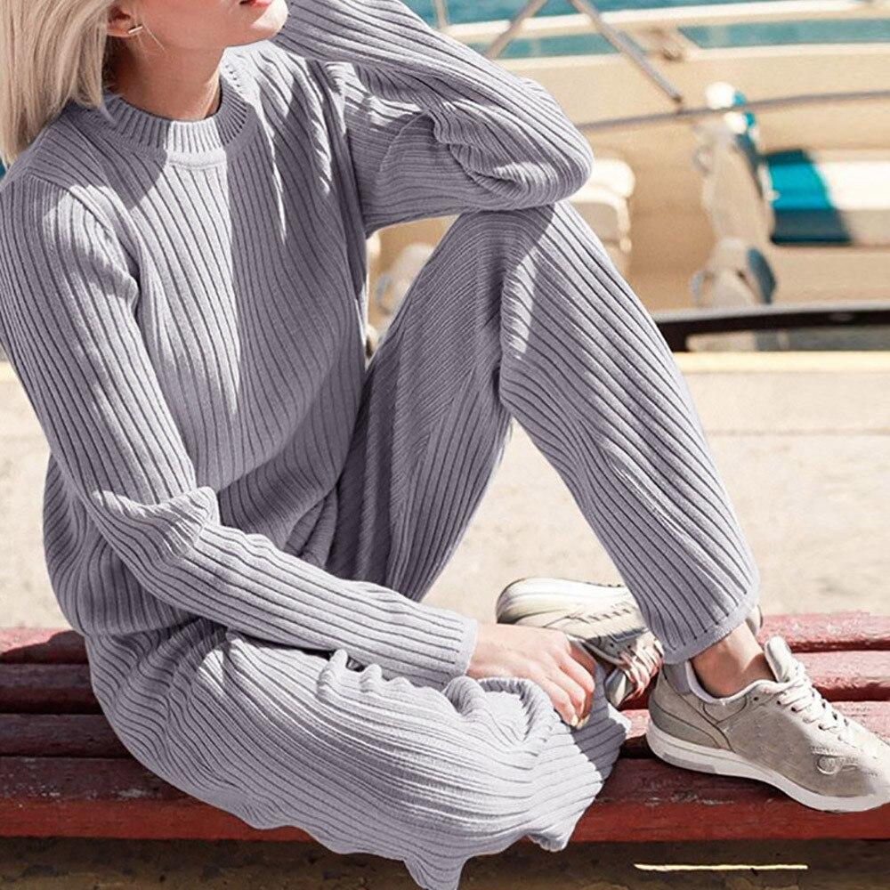 2018 סתיו Womans סוודר + מכנסיים סטי מוצק צבע נשי מזדמן שתי-חתיכות חליפות Loose סוודר לסרוג חורף Terno דה camisola