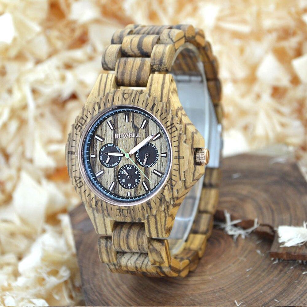 BEWELL mens watch natural wood clock special design watch quartz box automatic mens luxury classic retro brand watch 116B