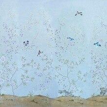 Классический стиль Элегантный Ручная роспись шелковые обои цветок с птицами широкий выбор мотивов и фона опционально