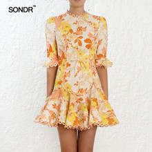 SONDR Print Dress Female O Neck Flare Half Sleeve High Waist Lace Up Mini Dresses Women 2019 Summer Casual Fashion New цены