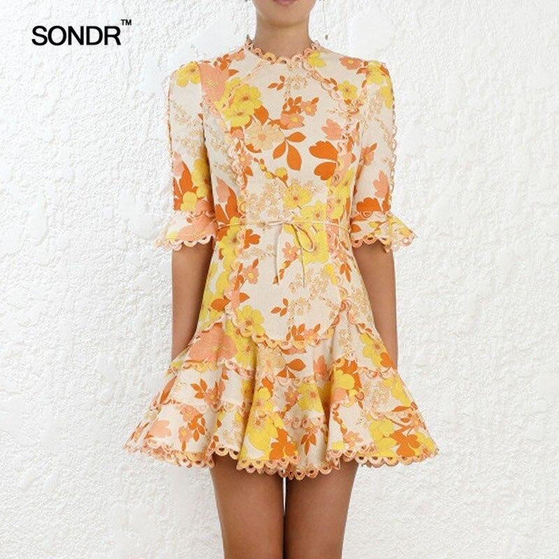 SONDR imprimer robe femme O cou Flare demi manches taille haute à lacets Mini robes femmes 2019 décontracté mode nouveau