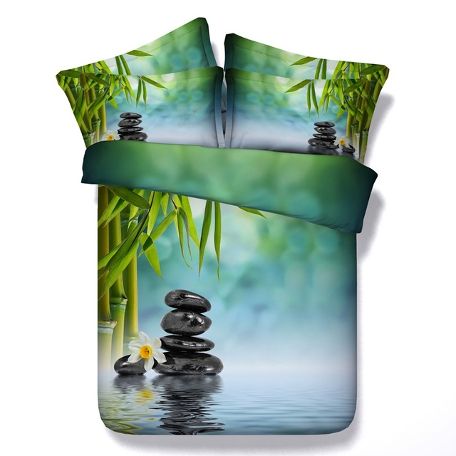 Bambus Bettwasche Set Blatt Bettbezug Aqua Twin Voll Konigin Super