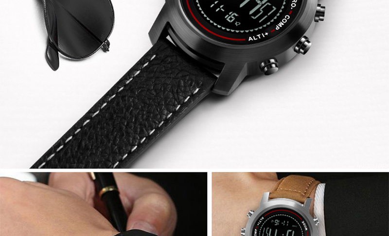 Topdudes.com - Men's Fashion Multi-Functional LED Digital Mountaineer Sport Watches with Altimeter/Barometer and Genuine Leather Strap