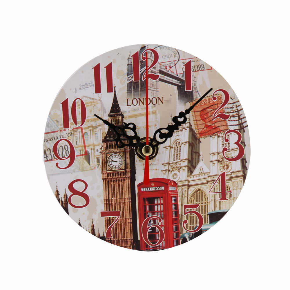 Vintage Style Non-Ticking Antique Wood Wall Clock For Home Kitchen Office Decorative Wall Clocks Watch Wall Unique Gift #O