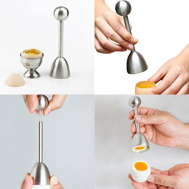 EZLIFE Egg Opener Creative DIY Egg Cutters Stainless Steel Egg Opener Raw Cracker Separator Egg Opener Kitchen Tool Accessories 3