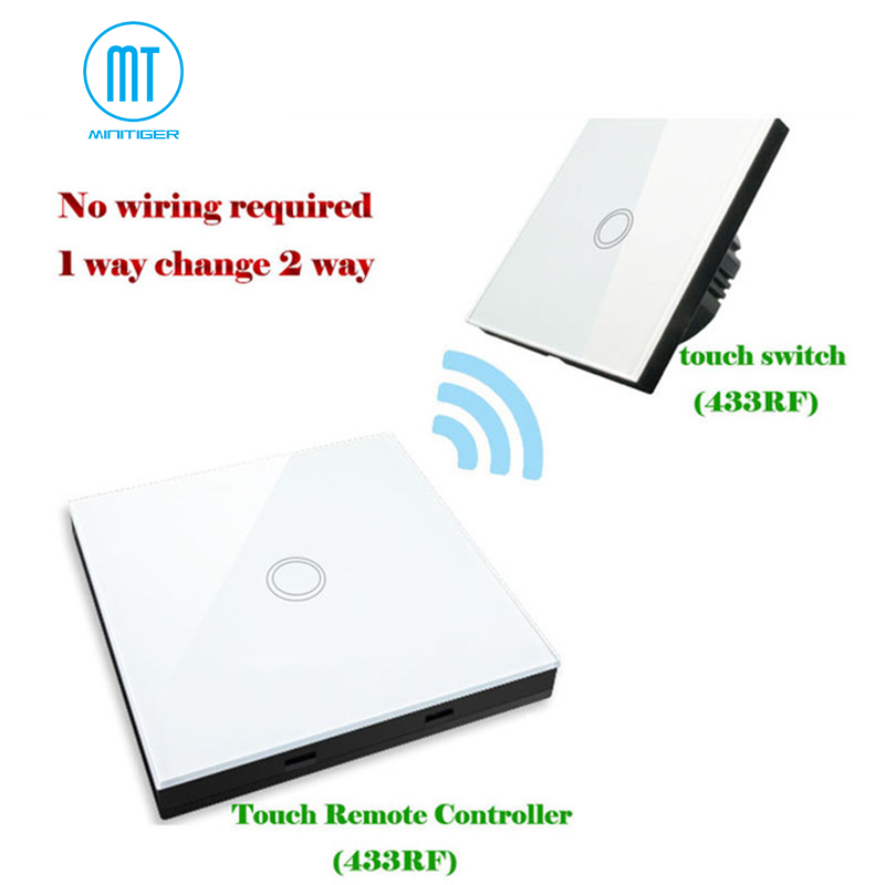 minitiger eu standard wall light touch switch + wireless switches shape remotes, free wiring control distance 30mminitiger eu standard wall light touch switch + wireless switches shape remotes, free wiring control distance 30m