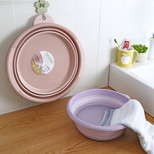 Plastic Portable Washbasin Foldable Bucket Kitchen Organizer Travel Folding Basin Home Washtub Water Bowl Fruit Tray