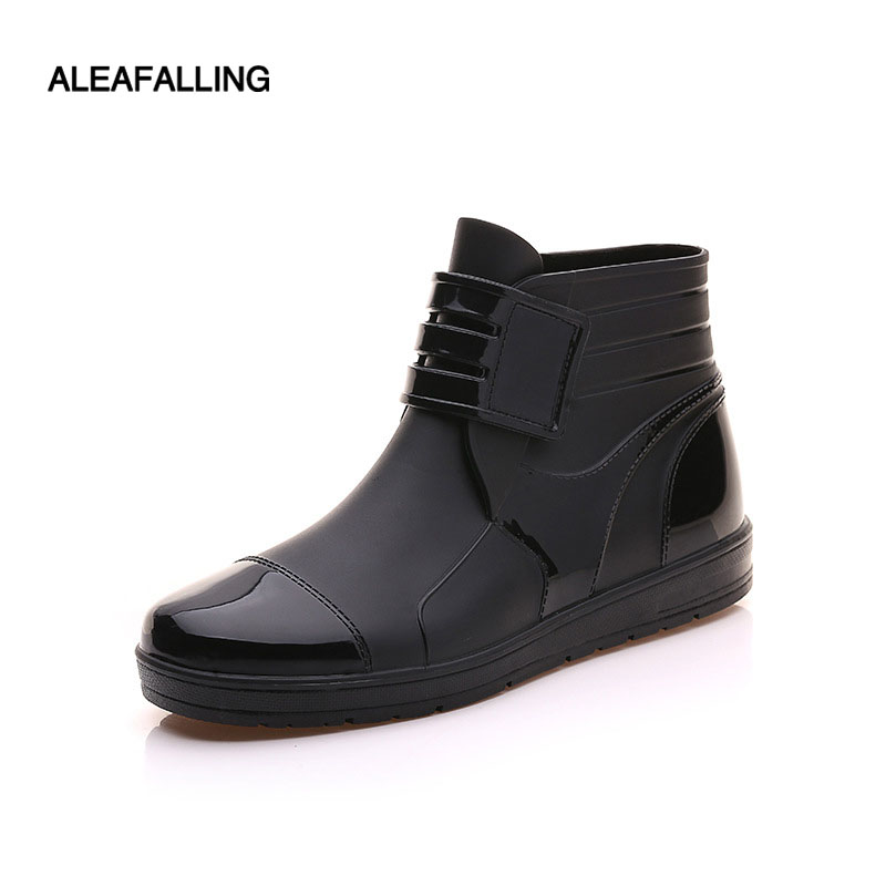 Aleafalling Pvc Waterproof Rain Boots Waterproof Flat With Shoes Men Rain Unisex Water Rubber Ankle Boots Buckle Botas M014