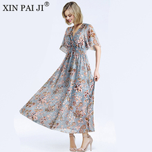 Women Chiffon Dress 2018 Summer Fashion Floral Print Butterfly Short Sleeve V-neck Long Slim Vestidos