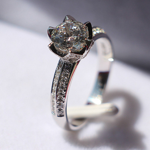 6.5mm Moissanite Main Stone Solid Gold Lotus Jewelry Ring 1CT Lovely Diamond Moissanite Tested Real 18K White Gold Engagement