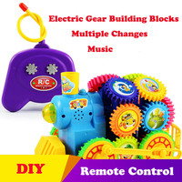 Remote Control Locomotive Electric Magic Gear Building Blocks 3D Puzzle Mini Construction DIY Plastic Educational Toys For Child