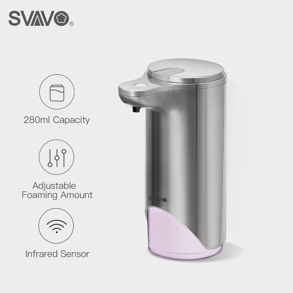 SVAVO280ml Automatic Foaming Soap Dispenser Infared Sensor Touchless Sanitizer Bathroom Adjustable Volume for Kitchen