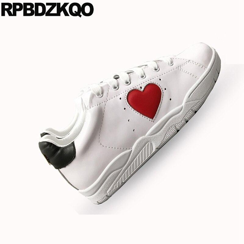 Blanc en cuir véritable coeur paillettes appartements décontracté femmes chaussures de luxe à lacets de haute qualité cils chaussures de sport à paillettes italiennes - 5