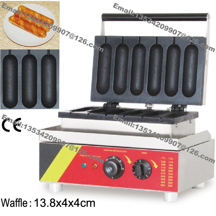 1500W Commercial 6pcs NonStick lolly Waffle Maker Muffin Machine Stick Baker