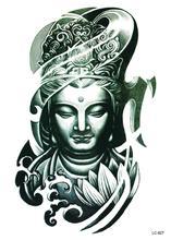 LC2827 21x15cm Large Big Tatoo Sticker Bronze Buddha Head Drawing Designs Cool Temporary Tattoo Stickers Joss