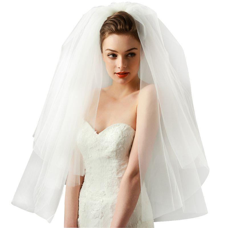Wedding Hairstyles No Veil: Tulle Wedding Dress Veils Fluffy Mesh White Multi Layer