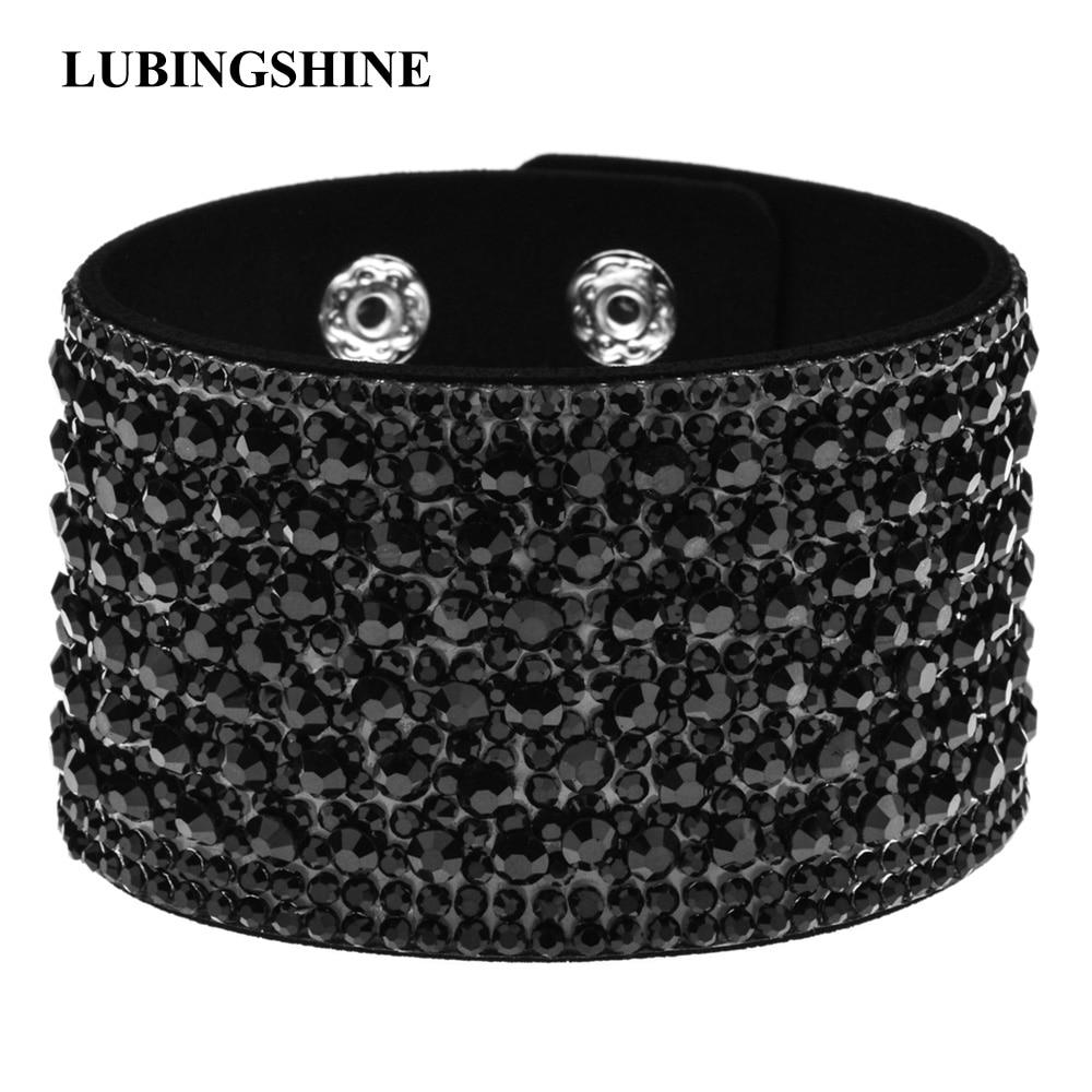 LUBINGSHINE Bohemian Wide Velvet Rhinestones Bracelets Bangles for Women Girls Party Blue Black Bracelet Fashion Jewelry