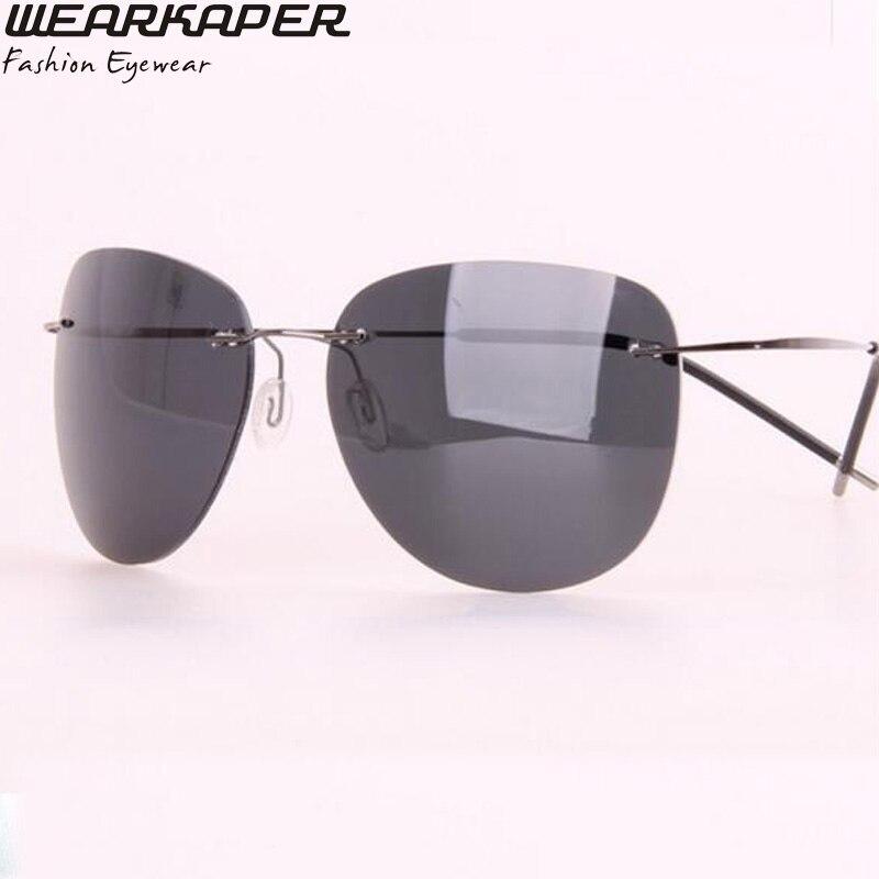 WEARKAPER Brand Polarized Men Sunglasses Titanium Rimless Pilot Glasses Aeronautica Military Men font b Gafas b