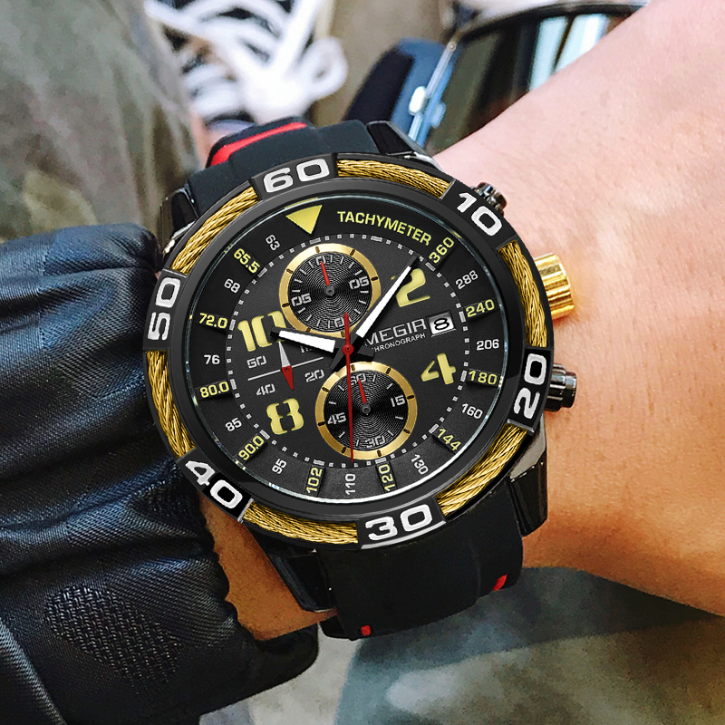 MEGIR Men Military Sports Watches Fashion Silicone Strap Man Waterproof Analog Quartz Wristwatches Clock Male Relogio Masculino megir big dial military sports watches men waterproof fashion brand stop watch quartz wristwatches clock male relogio masculino