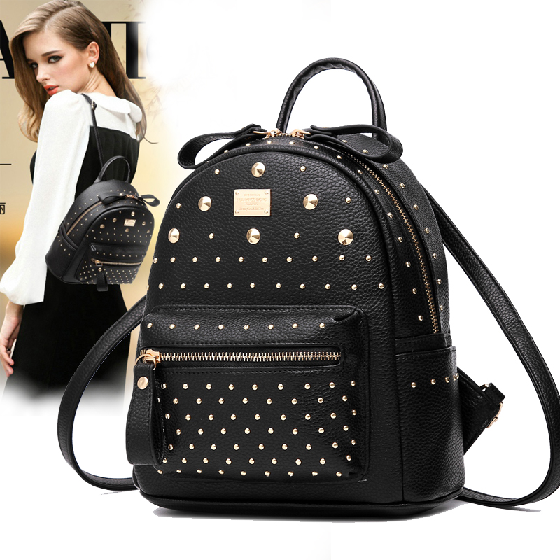 Fashion Lady Backpacks Women Hand Bags Soft Leather Rivet Brand Shoulder Bag Girls Students Teenager School Back Pack Daypacks free shipping 10pcs tp3067wm tp3067 3067w sop20 page 4