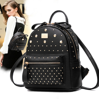 Fashion Lady Backpacks Women Hand Bags Soft Leather Rivet Brand Shoulder Bag Girls Students Teenager School